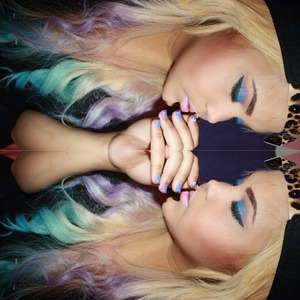 Azure and Lavender ombre hair
