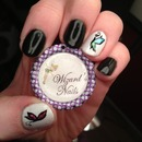 black and white nails with foil butterflies :)