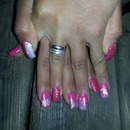 Pink  And White Glitter Nails