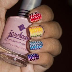 http://www.bellezzabee.com/2013/07/rainbow-dot-gradient-nails.html