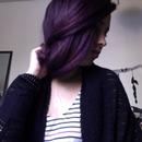 Purple straightened updo