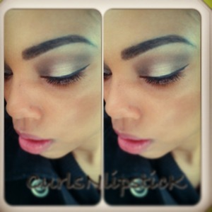 Eye makeup using urban decay's Naked palette Brave by MAC on the lips and Dame blush by MAC