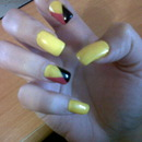 Yellow, Pink And Black Nails