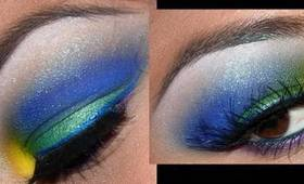 Yellow, Green, and Blue eyeshadow tutorial!