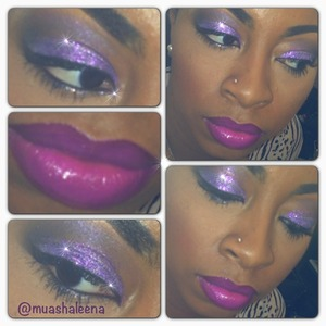 Purple glitter with Feel My Pulse Lipstick from the MAC Temperature Rising Collection