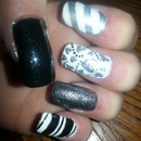 Black silver and white mani