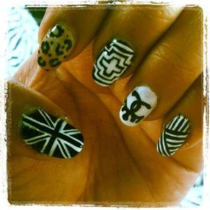 Ombre leopard print, tribal, Chanel and b&w British flag.