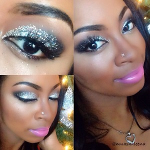 I love the holidays! I did a tutorial for this look on my youtube channel, BeautySoSweet08. I used MAC 3D Glitter.   Follow me on Instagram @muashaleena for daily makeup pics :)
