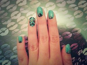 An easy teal, black, and silver chevron design