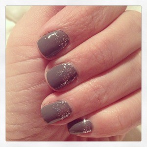 Gray nails with Silver Glitter
