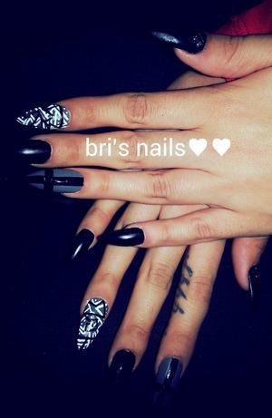 tribal, cross, blk matte stiletto nails
