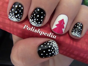 Simple, Christmasy, and Cute!  I love this design. I wish my christmas tree in real life looked this good.  I think I might have bad luck with Christmas trees. :(  (Except on my nails)  Watch The Tutorial @ http://www.polishpedia.com/snowy-christmas-tree-nail-art.html