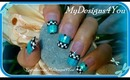 CHECKERED BLUE GLITTER FRENCH TUTORIAL - ♥ MyDesigns4You ♥
