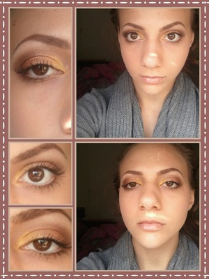 a yellow and coppery eyelook