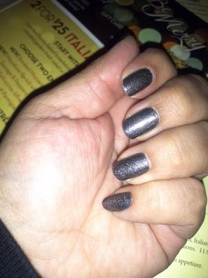 Revlon lighting glitter over a black pearl gray.