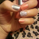 silver and peach nails?