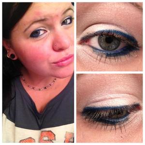 when applying eyeliner, i make the line ascend from thin to thick to give the illusion that my eyes are bigger! i used blue eyeliner and  a very light pink shadow. It's a super-quick look, but fun and quirky.
