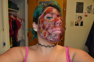 This was Freddy Kruger inspired burn make-up. I decided to make my face ooze more greens and yellows like the rest of his body does in the films.