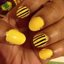 Yellow Base with Black Stripes