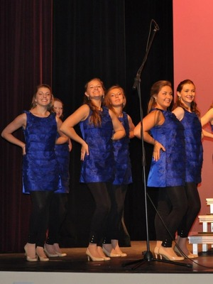 This is a pic of me and some of my alto girls in Radica. I love this blue dress. We literally have like 30 seconds to get out of one dress and put on this one and our black leggings and make it out onstage with big smiles. This dress is my favorite of our dresses this year.