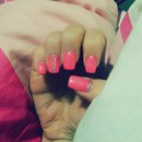 nails neon Pink, glitters
