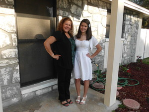 This was taken in front of my house before confirmation(: This is my mom and I! My dress was white and it was a sundress from JCP for 40$. My cardigan is from JCP as well and that was 13$. My wedges/heels were from Payless and those we 1/2 off for 12.50$ (original 25$)