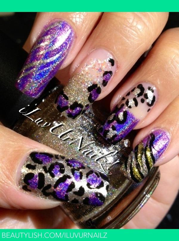 Holographic Animal Print Nail Design Iluvurnailz Js Iluvurnailz