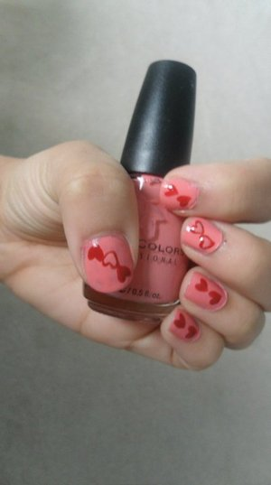 Pink Polish with red hearts!