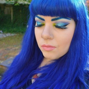 """Hair is VP Fashion extensions and Special Effects """"Electric Blue"""" hair dye. Also used:  Perversion mascara and Perversion Glitter Dip false lashes. Base for eyebrow color is Em Cosmetics eyeliner in """"Turquoise""""."""