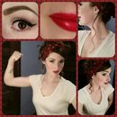 Halloween Rosie the Riveter makeup & hair