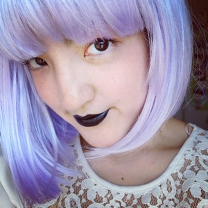 Trying out Portland Black Lipstick and having fun with a wig. Wish my hair was really this color!