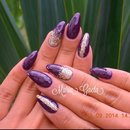 Violet Nails/Purple Nails/Gold Nails/Nail Art/Long Nails/Stiletto