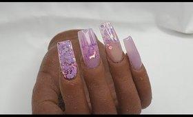 Pink Designer Acrylic Nails