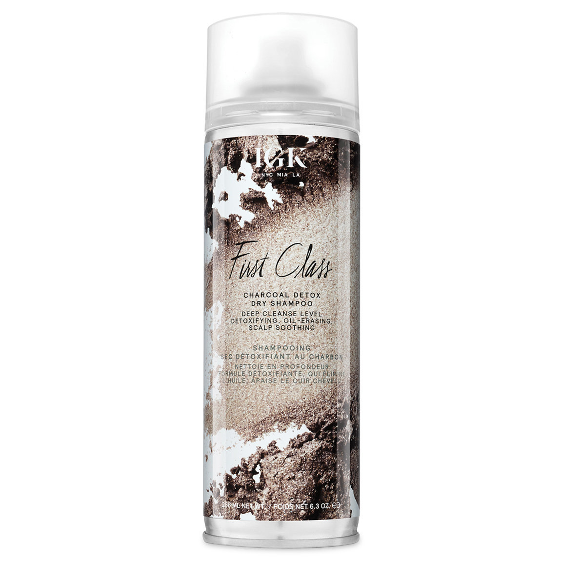 IGK First Class Charcoal Detox Dry Shampoo 6.3 oz product swatch.