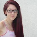 Straight, purple hair