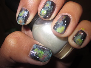 Cosmic Nails -  Left. First Attempt. Stars are OK in this one :)