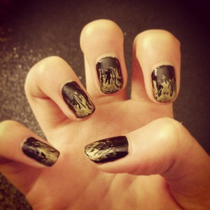 Gold flame nails inspired by the hunger games, probably the easiest and quickest nail art that I have ever done