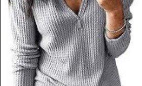 Snovcheoy Women's Waffle-Knit Tops Loose Long Sleeve V Neck Henley Shirts