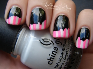 Taping mani done with jagged cut scissors. http://spellboundnails.blogspot.com/2012/09/neon-pink-stripes.html