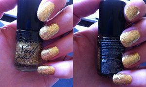 "Miss Sporty Base and Top Coat    Pretty:perfect Nail drying spray   H&M Nail Polish in ""Super Gold""   H&M Nail polish in ""Glitter Gold"""