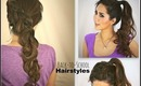 ★2 CUTE SCHOOL HAIRSTYLES: HAIR TUTORIAL FOR MEDIUM LONG HAIR | KATNISS BRAID CURLY PONYTAIL UPDOS
