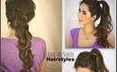 ★2 CUTE SCHOOL HAIRSTYLES: HAIR TUTORIAL FOR MEDIUM LONG HAIR | KATNISS BRAID CURLY PONYTAIL UPDOS