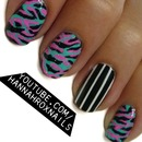 Abstract Camo & Striped Nail Art