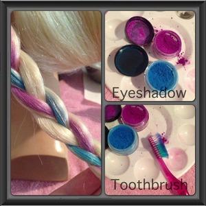 Eyeshadow, toothbrush, apply to hair.