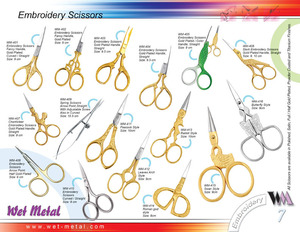 Wet Metal offers a complete range of Embroidery Scissors / Fancy Scissors made of high quality stianless steel, Scissors are avaialble in different shapes, patterns and designs.