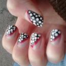 Black And White Polkadot Nails