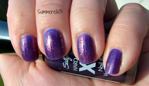 3 coats of Sally Hansen Xtreme Wear Purple Pizzazz, one coat of Sally Hansen Complete Salon Manicure Hidden Treasure and one more coat of Purple Pizzazz