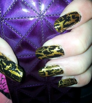 Gold with black crackle
