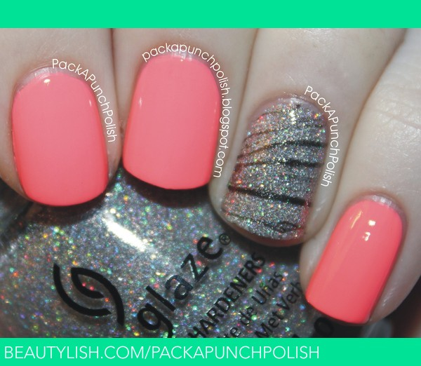 Neon Pink Nails With A Glitter Zebra Watermarble Accent