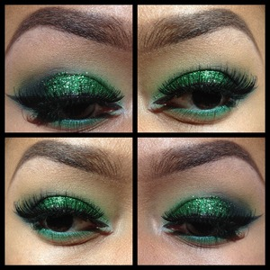 Hobby lobby green glitter CRÉME 217 lashes stacked